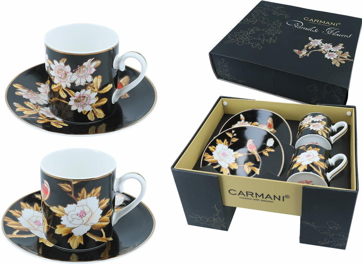 Carmani, kpl. 2 filiżanek ze spodkami - Paradise Flowers, kwiaty i ptaki