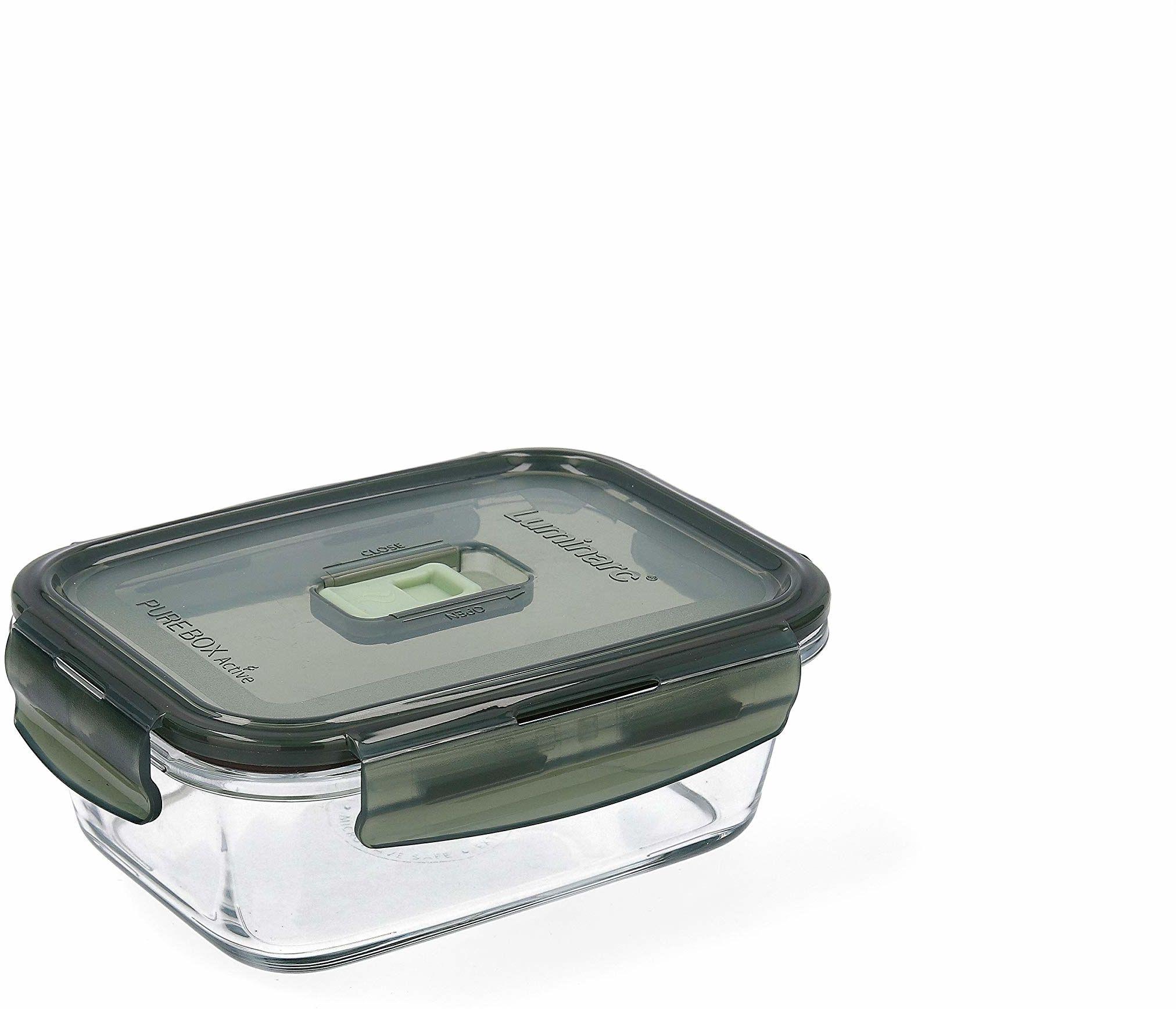 Luminarc Pure Box Active pojemnik na żywność ze szkła, prostokątny, 82 cl, oliwkowa zieleń