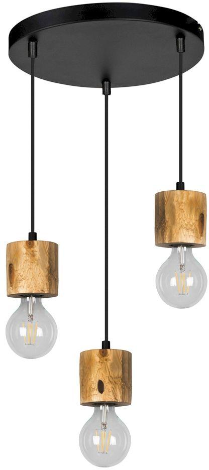 Spot Light 71689304R Pino lampa wisząca rustykalna metal czarny drewno sosna 3xE27 60W 30cm