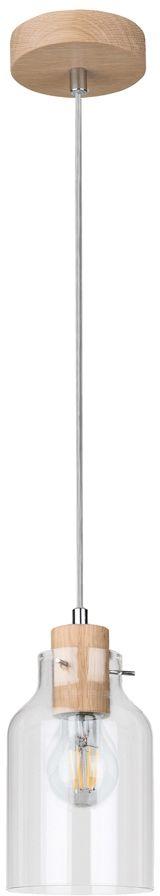 Spot Light 1760174 Alessandro lampa wisząca drewno dąb olejowany klosz szkło transparentny 1xE27 60W 10cm