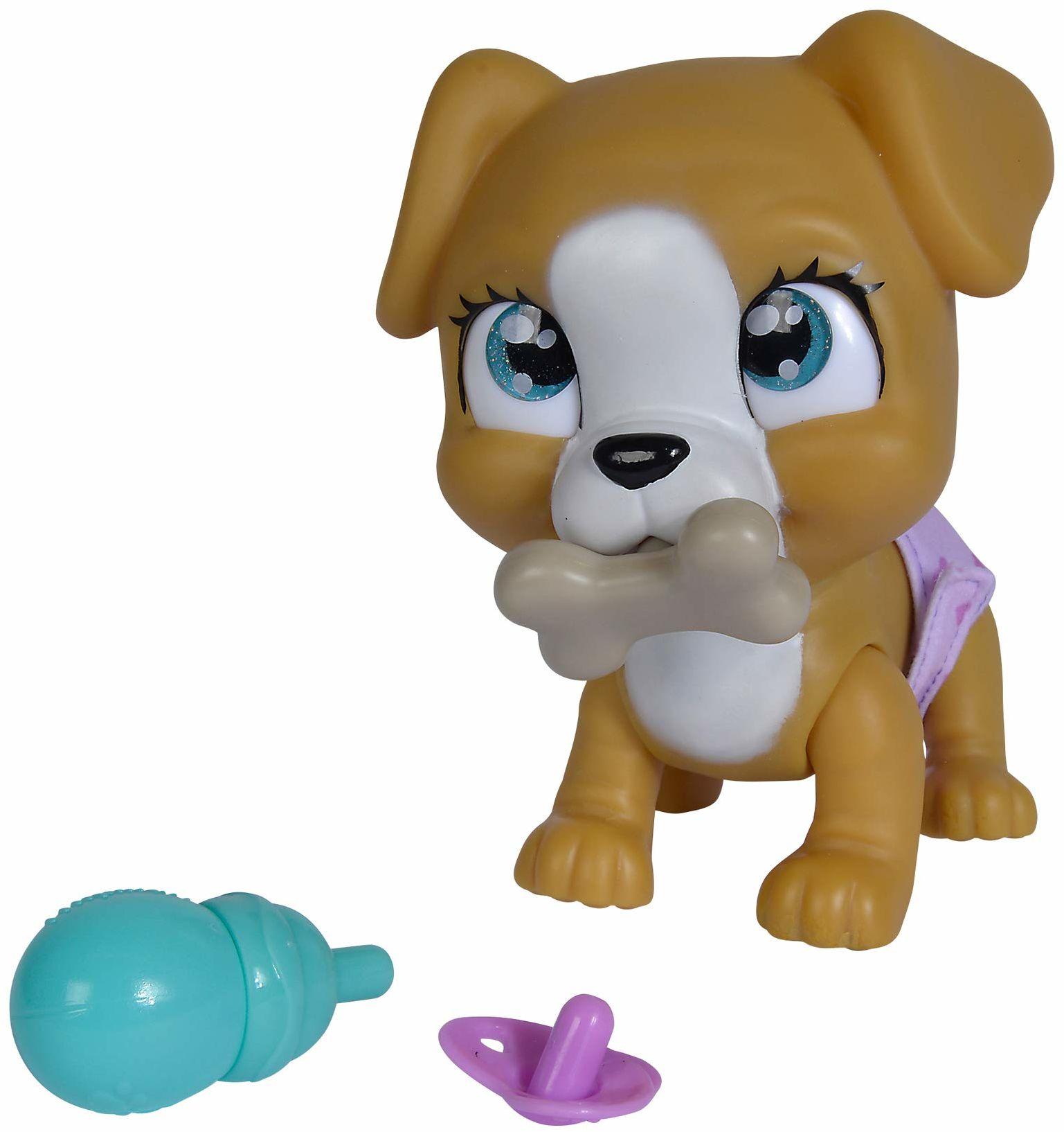 Simba 105953050 Pamper Petz pies z piciem i funkcją wilgotności, z magiczną łapą, z niespodzianką, od 3 lat, 15 cm