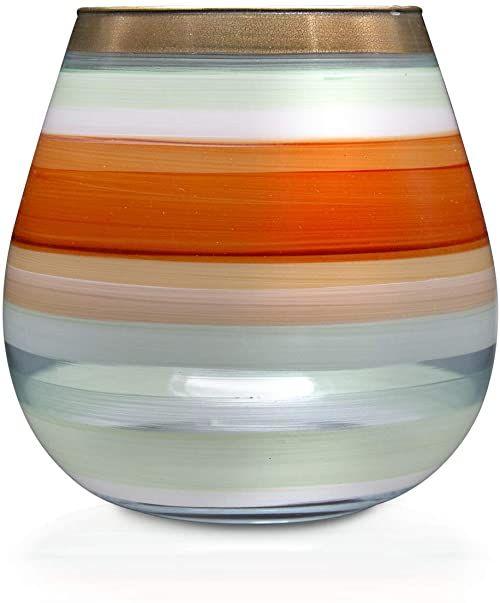 Angela Neue Wiener Werkstätte Świecznik Vesuvio pomarańczowy wazony z kolorowego szkła, 15 cm