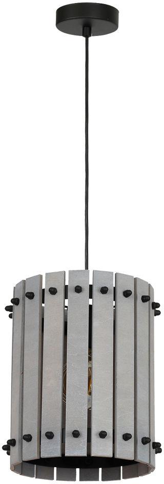 Milagro EGON GREY MLP3759 lampa wisząca szare drewniane listewki tworzą otoczkę oprawy metalowe elementy 1xE27 17cm