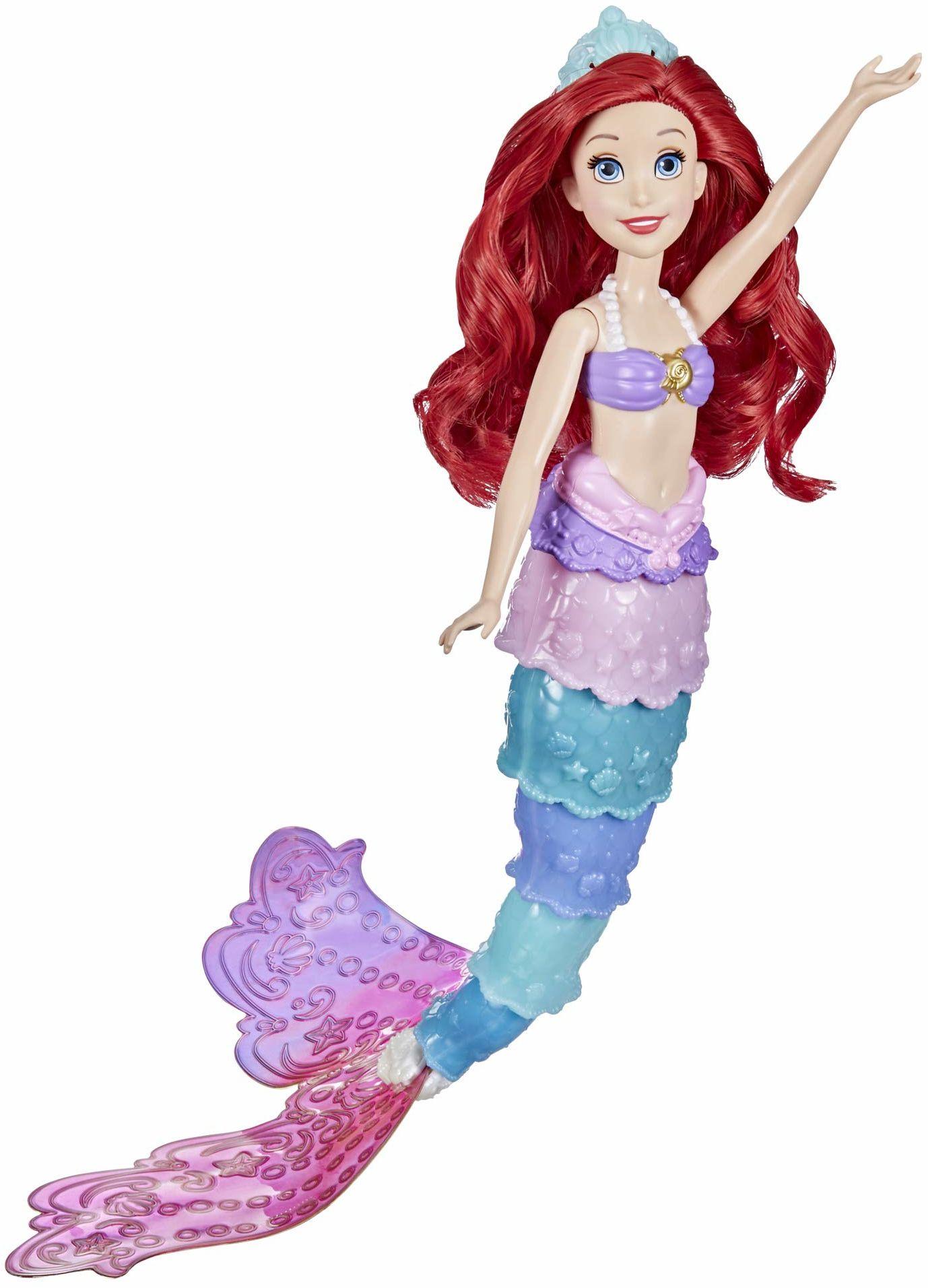 Disney Princess Księżniczka Disneya Tęczowa przemiana Ariel, zmieniająca kolor lalka, wodna zabawka inspirowana filmem Disneya Mała Syrenka, dla dziewczynek w wieku od 3 lat