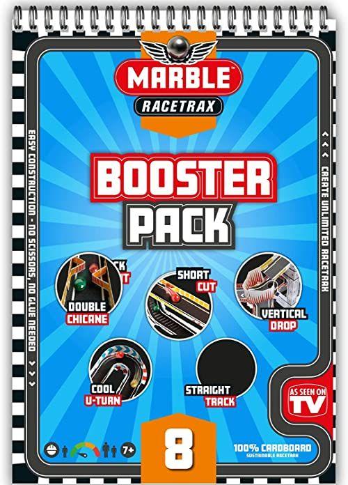 Marble Racetrax 869195  Murmel Mania 8-częściowy zestaw akcesoriów do toru wyścigowego z 4 godzinami, zestaw do majsterkowania z kartonu FSC, zestaw konstrukcyjny dla dzieci od 7 lat