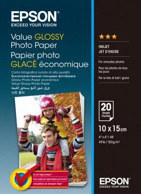Epson S400037 Value Glossy Photo Paper, biały, błyszczący, papier fotograficzny 10x15cm, 183 g/m2, 20 szt.