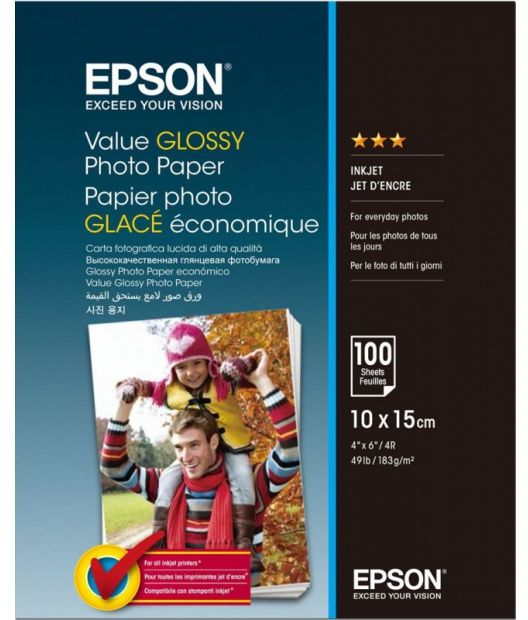 Papier fotograficzny Epson Value Glossy Photo Paper 183 g/m2 - 10x15, 100 arkuszy (C13S400039)