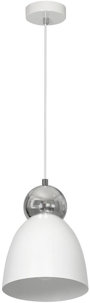 Milagro TAURUS WHITE MLP3768 lampa wisząca metalowa biało-srebrna kula zamontowana nad kloszem 1xE27 18cm