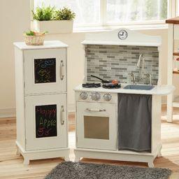Teamson Kids - Sunday Brunch drewniana kuchnia do zabawy dla malucha z tablicą kredową, lodówką, piekarnikiem i zmywarką - biała udawaj zabawa