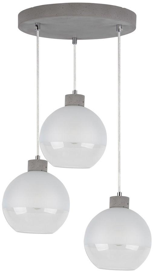 Spot Light 1860336R Fresh lampa wisząca szary beton/ transparentny klosze szklane szronione 3xE27 60W 32cm