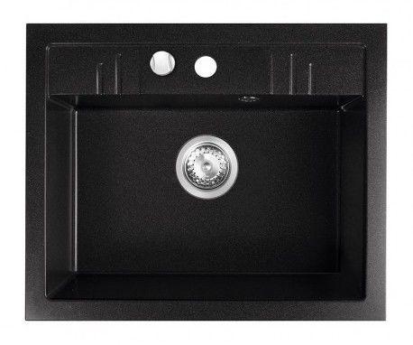 Zlewozmywak granitowy Ferro 1-komorowy z ociekaczem 48 x 58 cm grafitowy