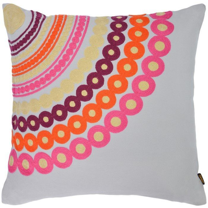 Poduszka dekoracyjna z wyjmowanym haftem 45 x 45 cm wypełnienie 4 kolory szary