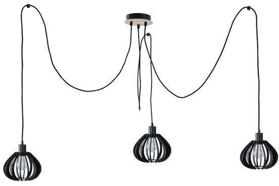 Nowoczesna lampa wisząca pająk NICOLETA 818 czarny/drewno
