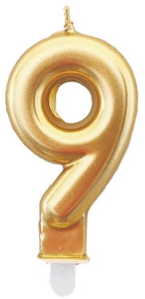 Świeczka cyferka złota - 9 - 1 szt.