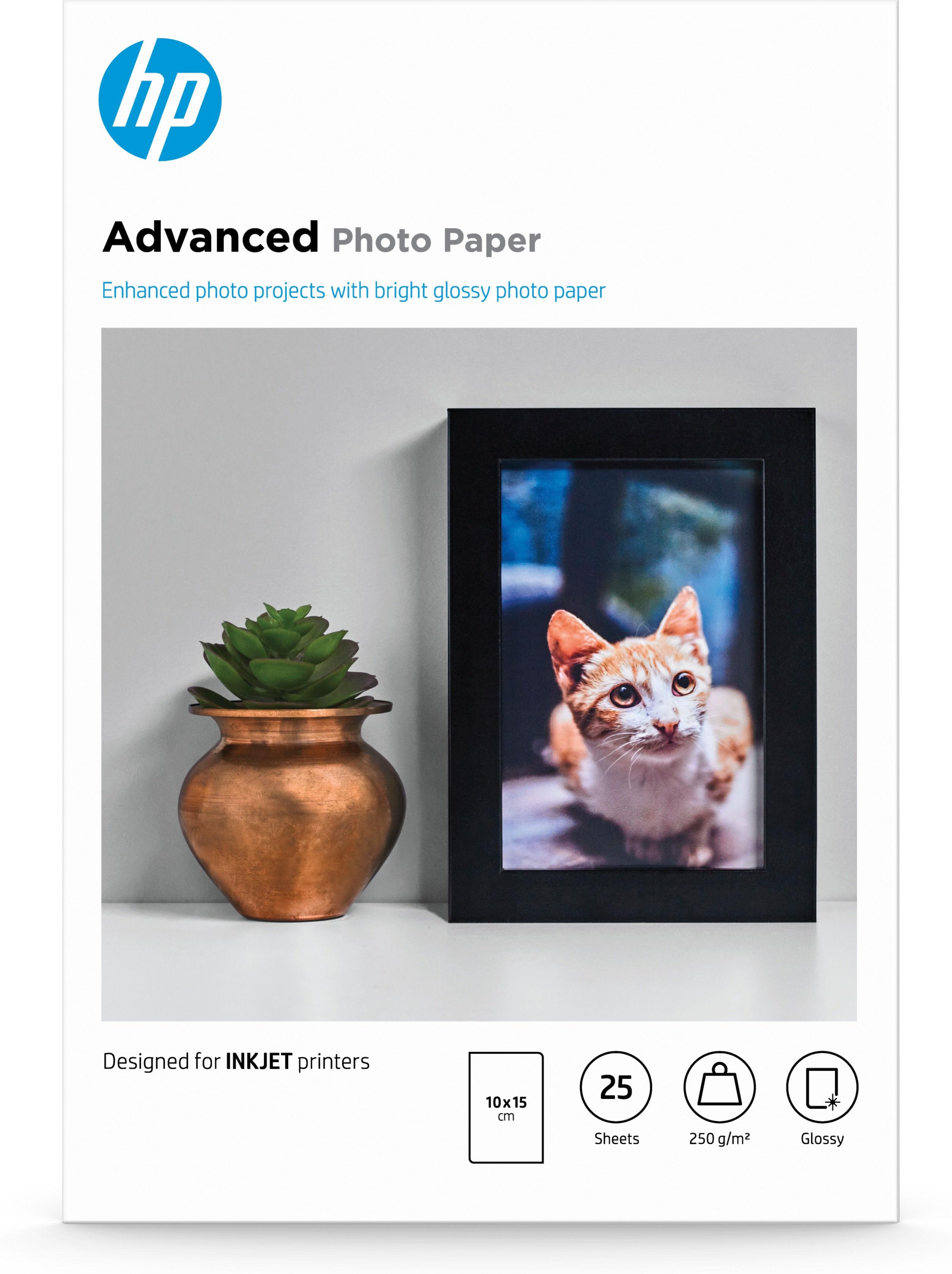 HP Papier fotograficzny Advanced, błyszczący  25 arkuszy/10 x 15