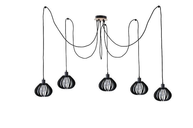 Nowoczesna lampa wisząca pająk NICOLETA 819 czarny/drewno - 5 czarny