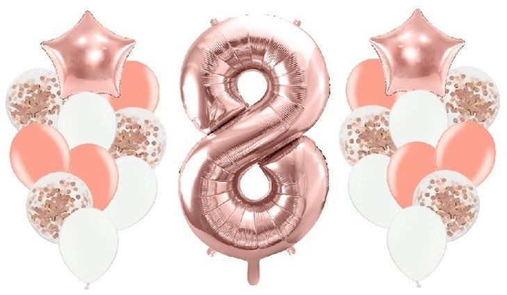 Zestaw balonów na 8 urodziny różowe złoto 21 sztuk A28