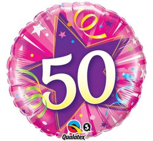 """Balon foliowy 18"""" na 50 urodziny, różowy"""