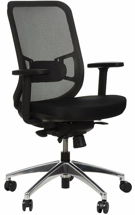 Krzesło obrotowe biurowe z podstawą aluminiową i wysuwem siedziska model GN-310/SZARY fotel biurowy obrotowy
