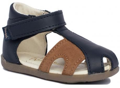 MRUGAŁA MIMI BLU sandały sandałki zabudowane 1111/73 chłopięce blue - nubuk
