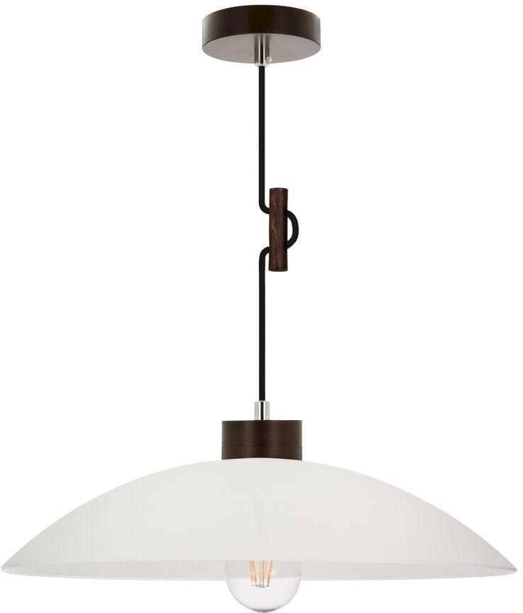 Spot Light 1408976 Jona lampa wisząca drewno orzech czarny/w oplocie klosz biały szklany 1xE27 60W 40cm