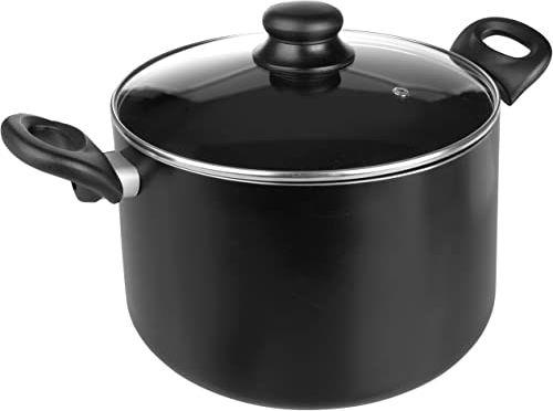 Ibili Inducta garnek do gotowania z pokrywką, aluminium, czarny/przezroczysty, 16 cm, 2 sztuki