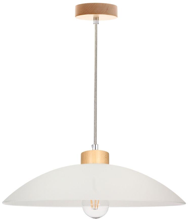 Spot Light 1408060 Jona lampa wisząca drewno brzoza /transparentny/ klosz szkło biały 1xE27 60W 40cm