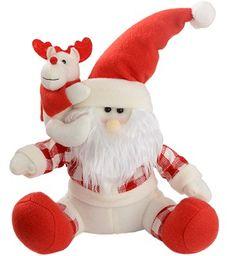 WeRChristmas Siedzący ojciec Boże Narodzenie Święty Mikołaj z małym reniferem dekoracja stołu - 30 cm, czerwony/biały tartan