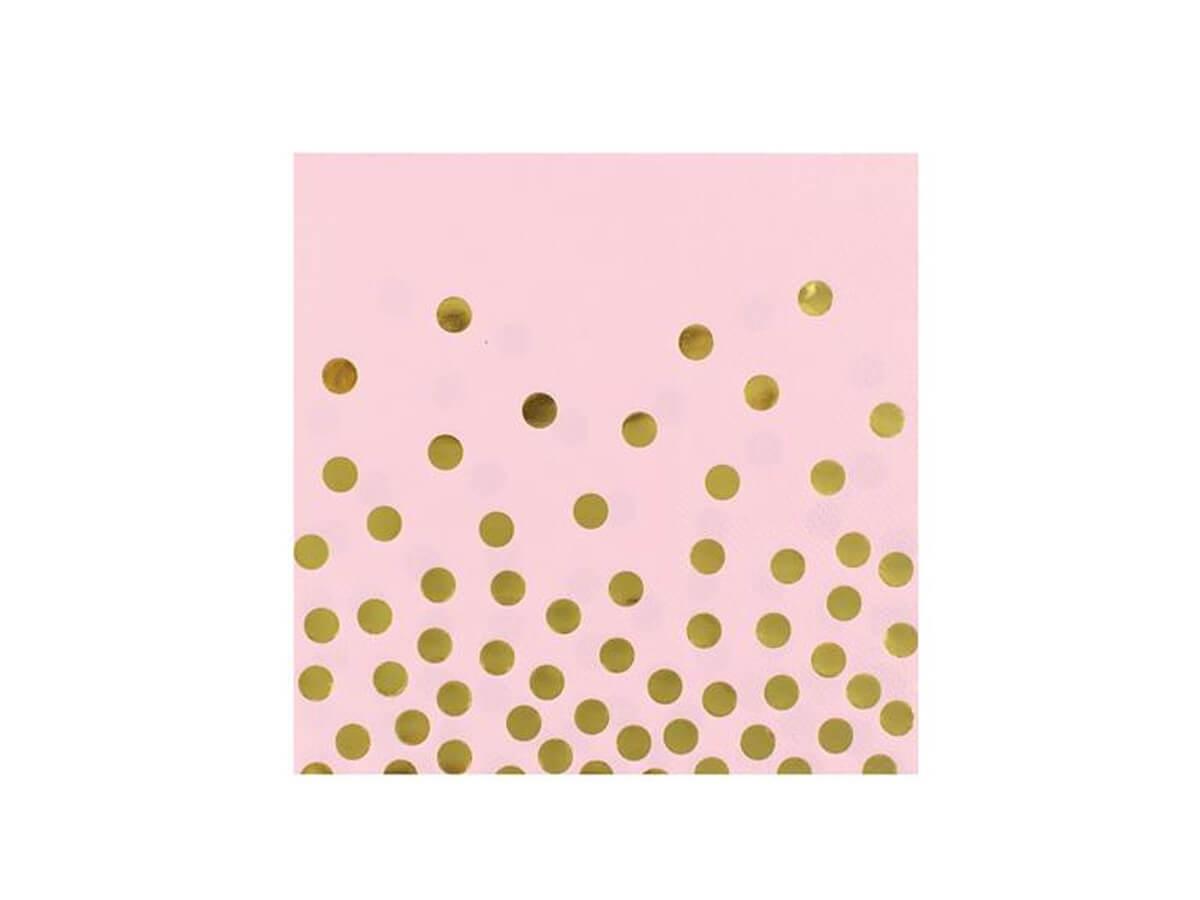 Serwetki różowe w złote kropki - 33 cm - 12 szt.