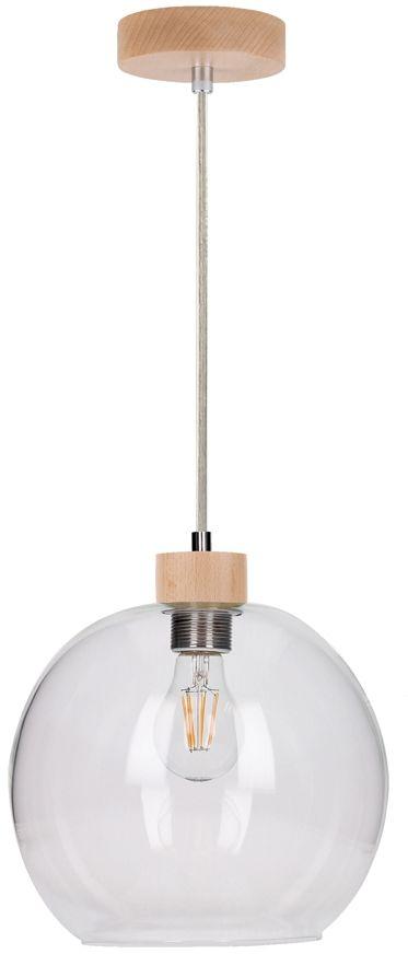 Spot Light 13560160 Svea lampa wisząca nowoczesna drewno brzoza klosz szkło transparentny 1xE27 60W 24cm