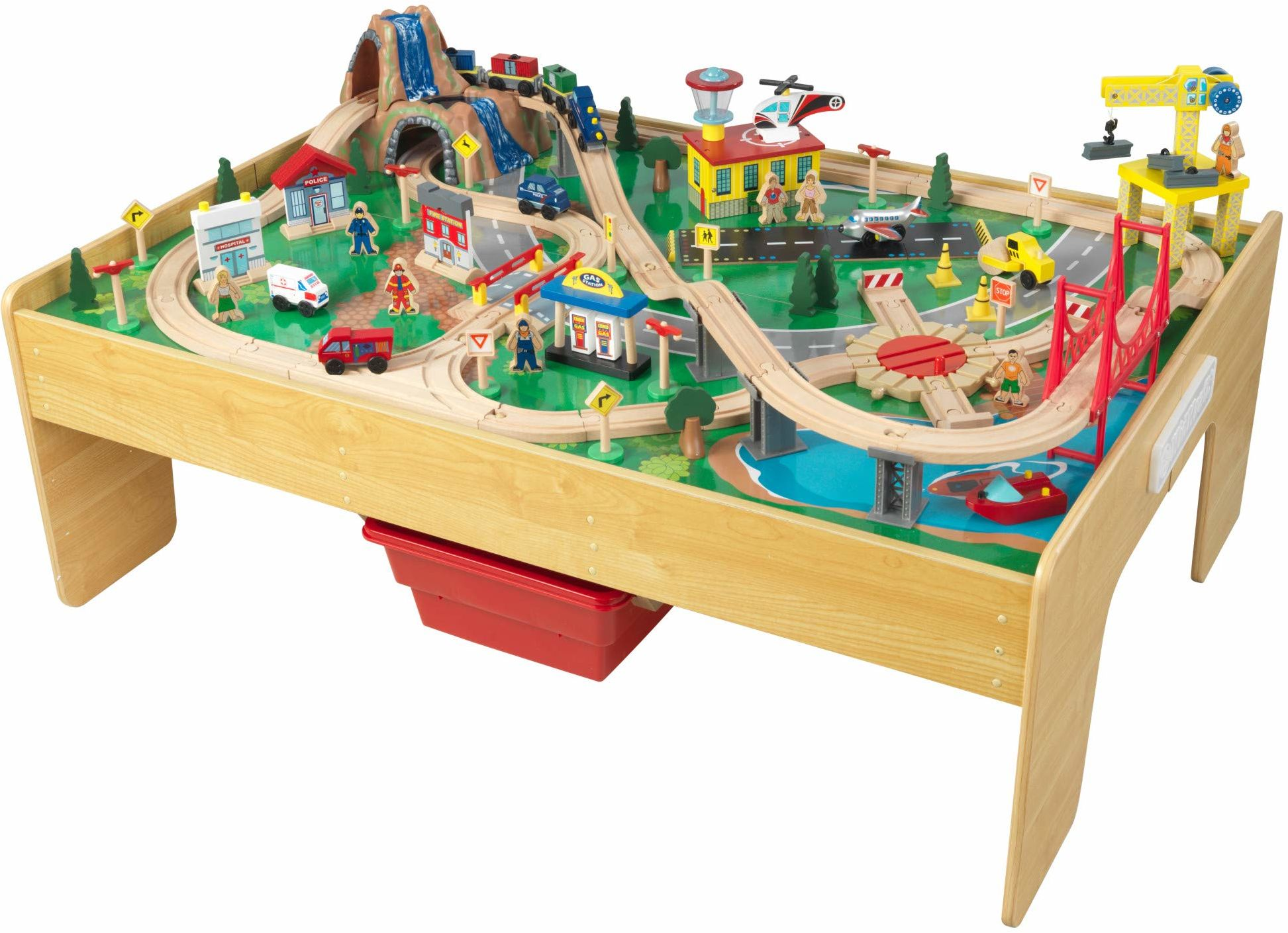 KidKraft 18025 Adventure Town drewniany zestaw torów kolejowych i stół dla dzieci, zestaw zabawkowy do aktywności kolejowej z akcesoriami w zestawie (120 sztuk) z montażem EZ Kraft