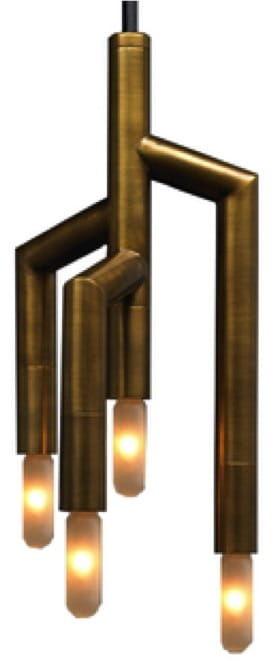 Fork 3D - nowoczesna lampa wisząca - mosiądz