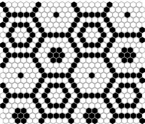 Mini Hexagon B&W Bee 26x30