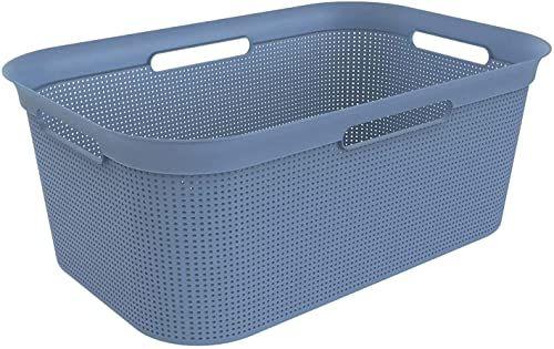 Rotho Brisen kosz na pranie, 40 l, z 4 uchwytami, tworzywo sztuczne (PP), nie zawiera BPA, horyzont, niebieski, 40 l (59,6 x 39,6 x 23,2 cm)