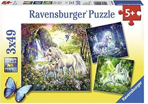 Puzzle 3X49 elementów Piękne Jednorożce