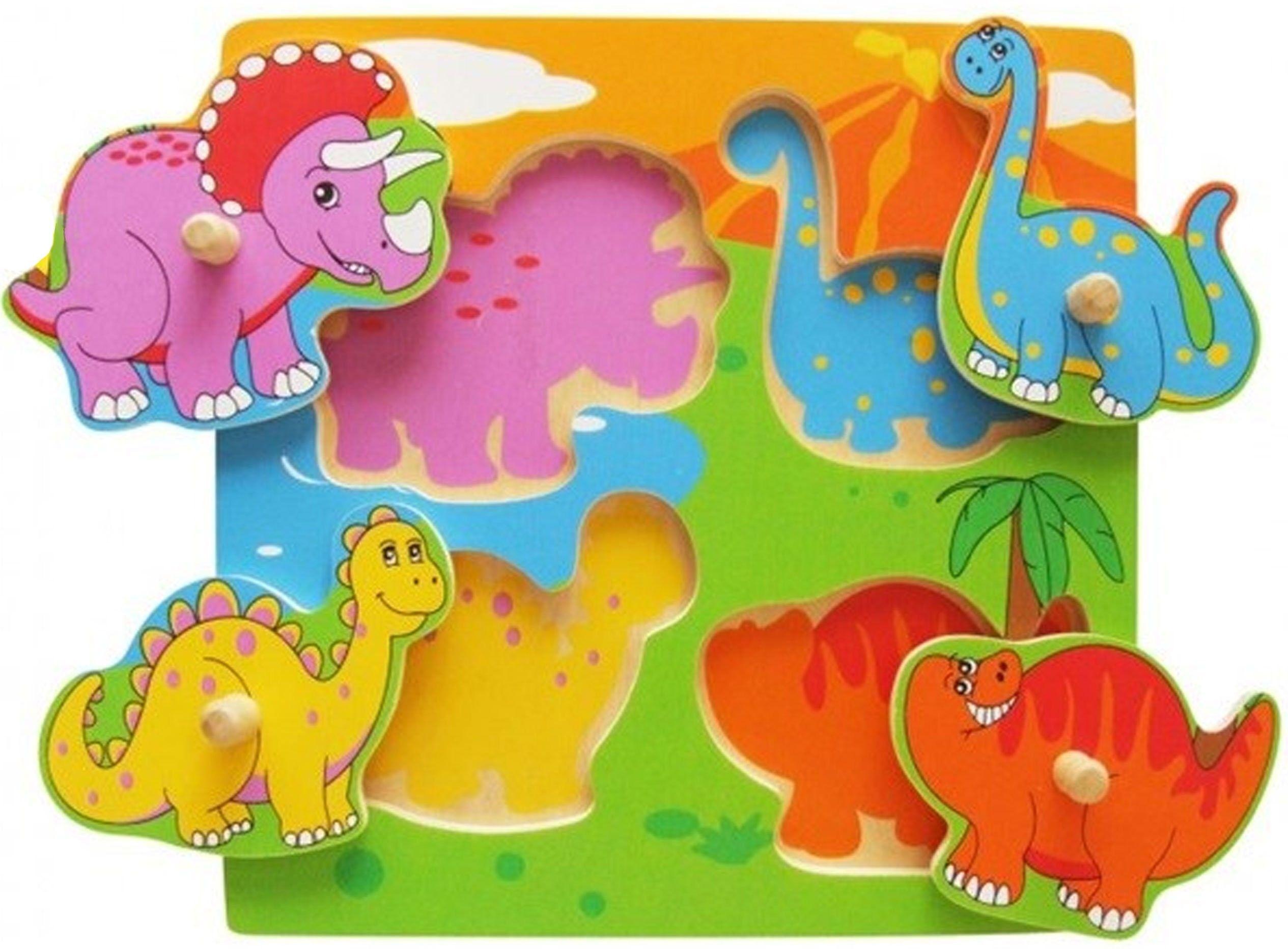 Drewniane Puzzle Dinozaury Układanka Niespodzianka Viga Toys