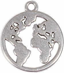 Rayher 22782606 metalowa zawieszka mapa świata, 18 mm, srebrna, SB-Btl 2 sztuki, normalna