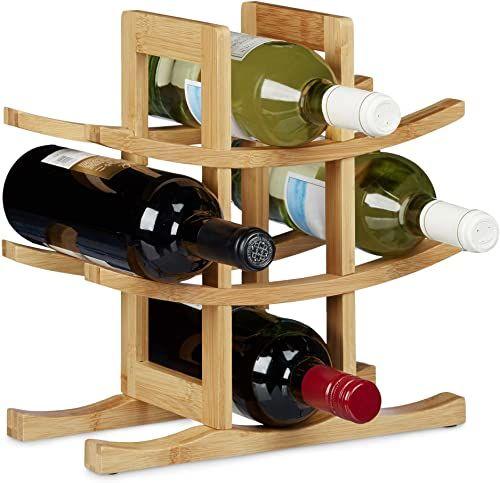 Relaxdays bambusowy stojak na wino, uchwyt na 9 standardowych butelek, oryginalny design, wolnostojący, rozmiar: około 30 x 30 x 14,5 cm, naturalny brąz, 14,5 x 30 x 30 cm