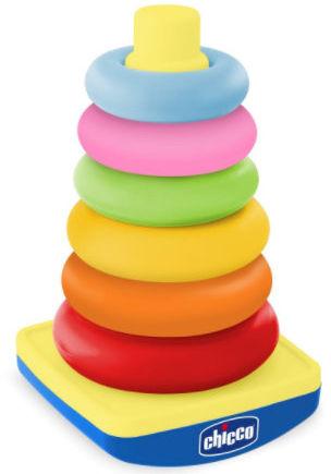 Chicco Pastelowa Wieża 9-36m Chicco Układanka z Pastelowych Krążków 9m+