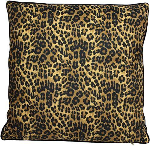 Poduszka ozdobna Leopard z wypełnieniem - aksamit - brązowy - 60x60cm