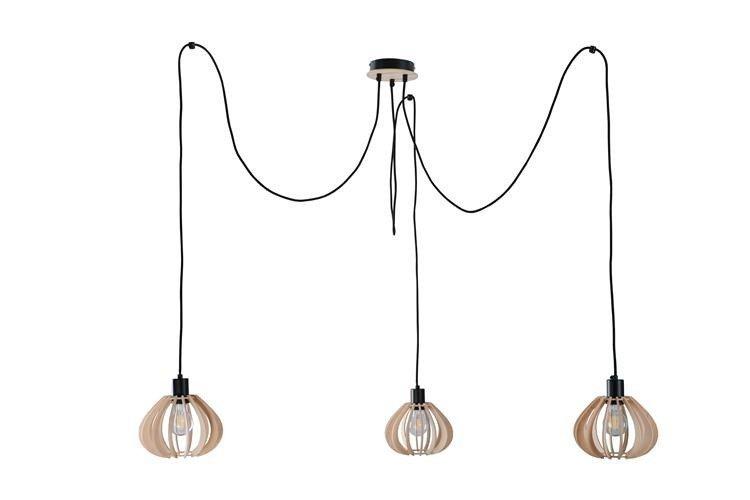 Nowoczesna lampa wisząca pająk NICOLETA 828 drewno/czarny