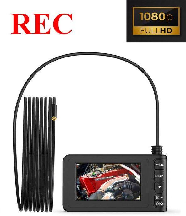 "Kamera Endoskopowa-Inspekcyjna FULL HD + Ekran LCD 4,3"" + Przewód 3m. + Zapis + Akcesoria."