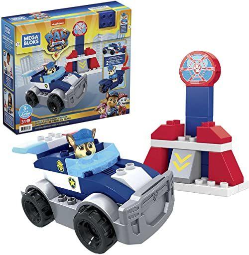 MEGA GYJ00 - Mega Bloks Paw Patrol Policja Zestaw konstrukcyjny z 31 klocków, zestaw zabawowy dla dzieci od 3 roku życia