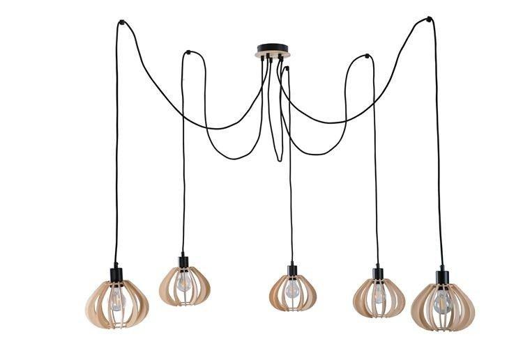 Nowoczesna lampa wisząca pająk NICOLETA 829 drewno/czarny - 5 Drewno