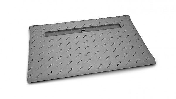 Radaway prostokątny brodzik podpłytkowy 99x89 cm z odpływem liniowym na dłuższym boku i syfone 5DLA1009A/5R075X/5SL1