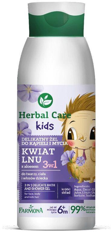 HERBAL CARE Kids 3w1 Delikatny żel do kąpieli oraz mycia 400ml