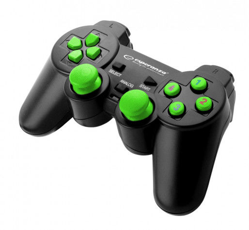 EGG102G Gamepad PC USB Warrior czarno-zielony Esperanza