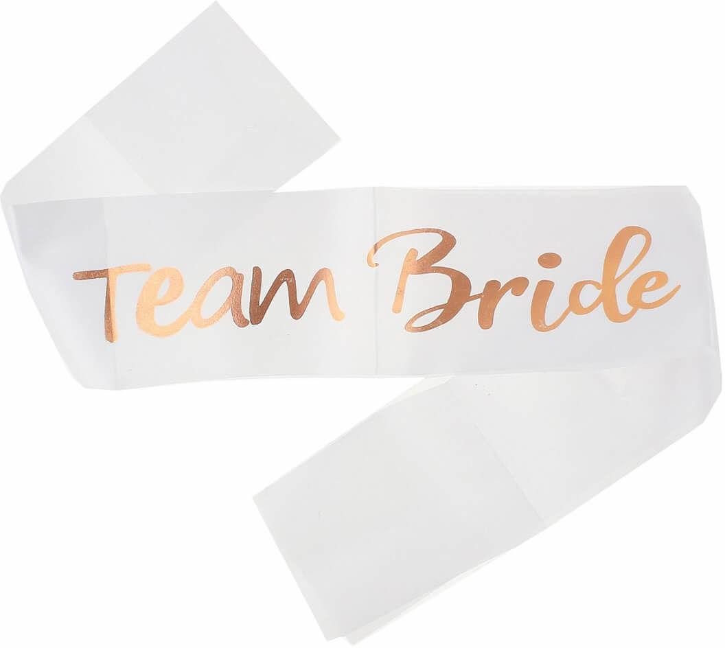 Biała szarfa z napisem Team Bride - 1 szt.