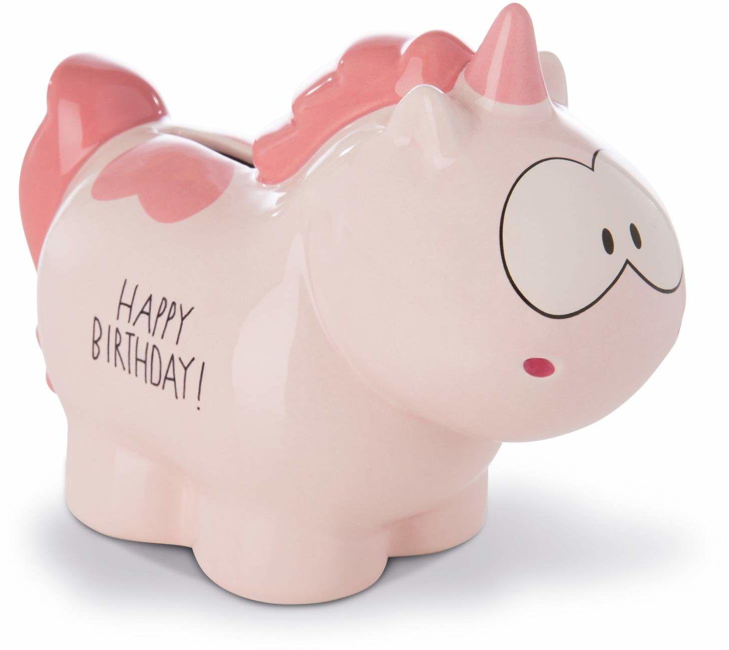 Nici 42518 skarbonka jednorożec Merry Heart Happy Birthday, 7,5 x 12 x 16,5 cm, różowa, ok