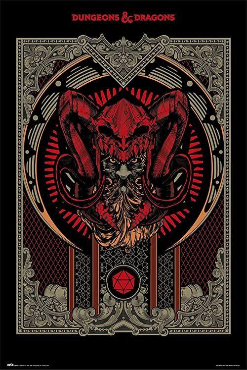Plakat z podręcznikiem gracza Grupo Erik Dungeons & Dragons, wielokolorowy, 61 x 91,5 cm